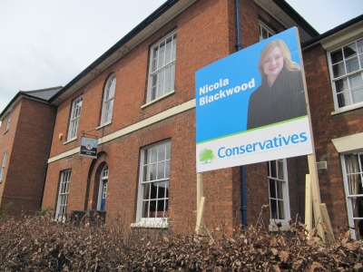 Large Nicola Blackwood poster at the Conservative Club
