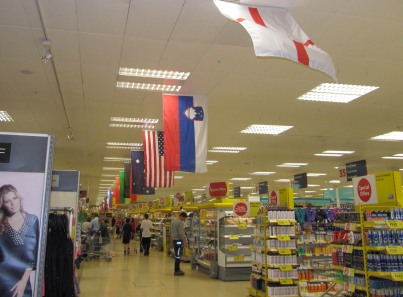 England Flag blowing at Tesco