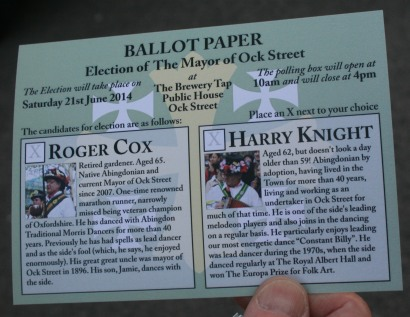 Mayor of Ock Street Ballot Papers