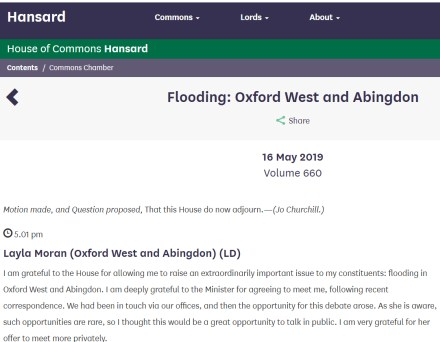 Debate on Abingdon Floods