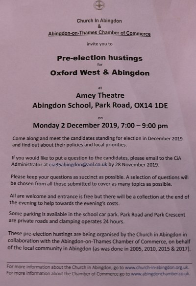 Oxford West & Abingdon Hustings 2019