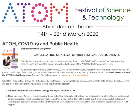 ATOM Festival of Science and Technology Cancelled
